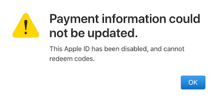 apple id disabled in app store