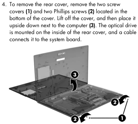 To remove the rear cover, remove the two screw covers (1) and two Phillips screws (2) located in the bottom of the cover.