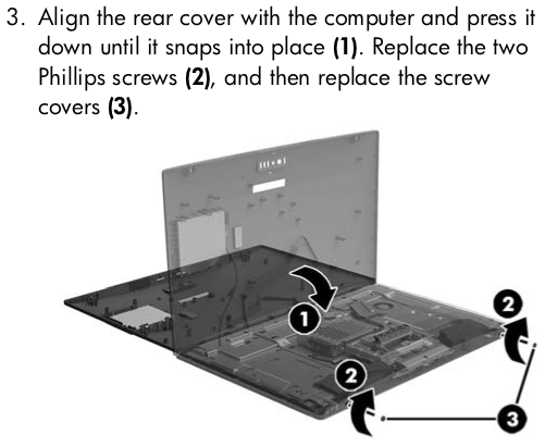 Align the rear cover with the computer and press it down until it snaps into place (1). Replace the two Phillips screws (2), and then replace the screw covers (3).
