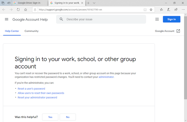 Signing in to your work, school, or other group account