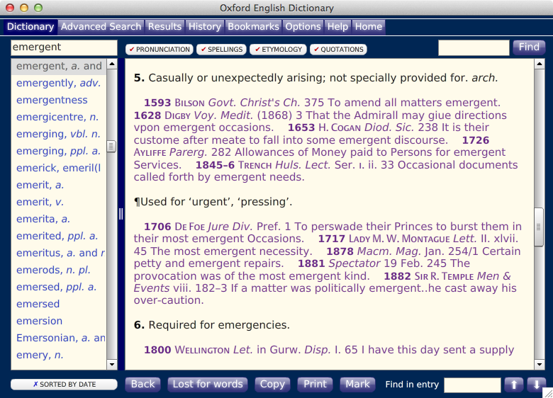 Emergent definition from the OED: urgent, pressing