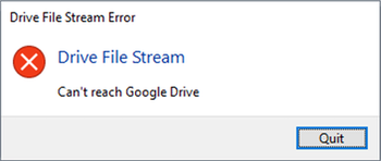 Drive File Stream: Can't reach Google Drive