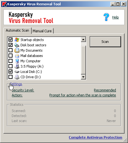 Free stand-alone antimalware app from Kaspersky